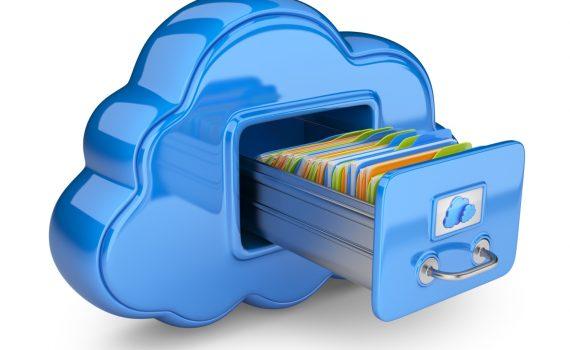 Blue file cabinet shaped like cloud